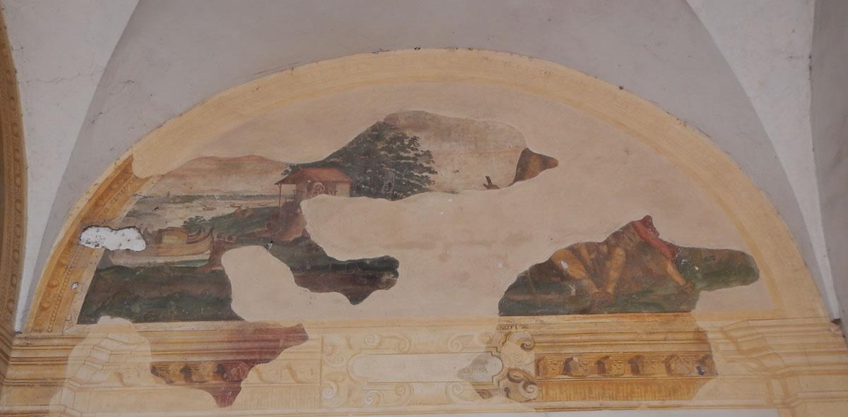 L'antica cappella votiva.Dipinto sulla facciata del Santuario.