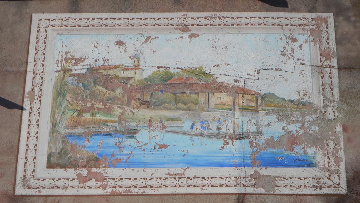 I vecchi mestieri del fiume.Dipinto su muro