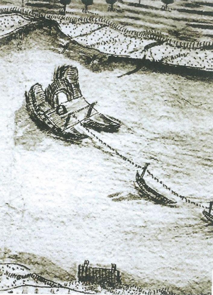Rara immagine di un traghetto. Questo collegava la riva di Motteggiana con quella di Boccadiganda. (carta del 1712)